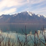 Lake Geneva and mountains.