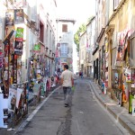 The poster-lined streets of Avignon.