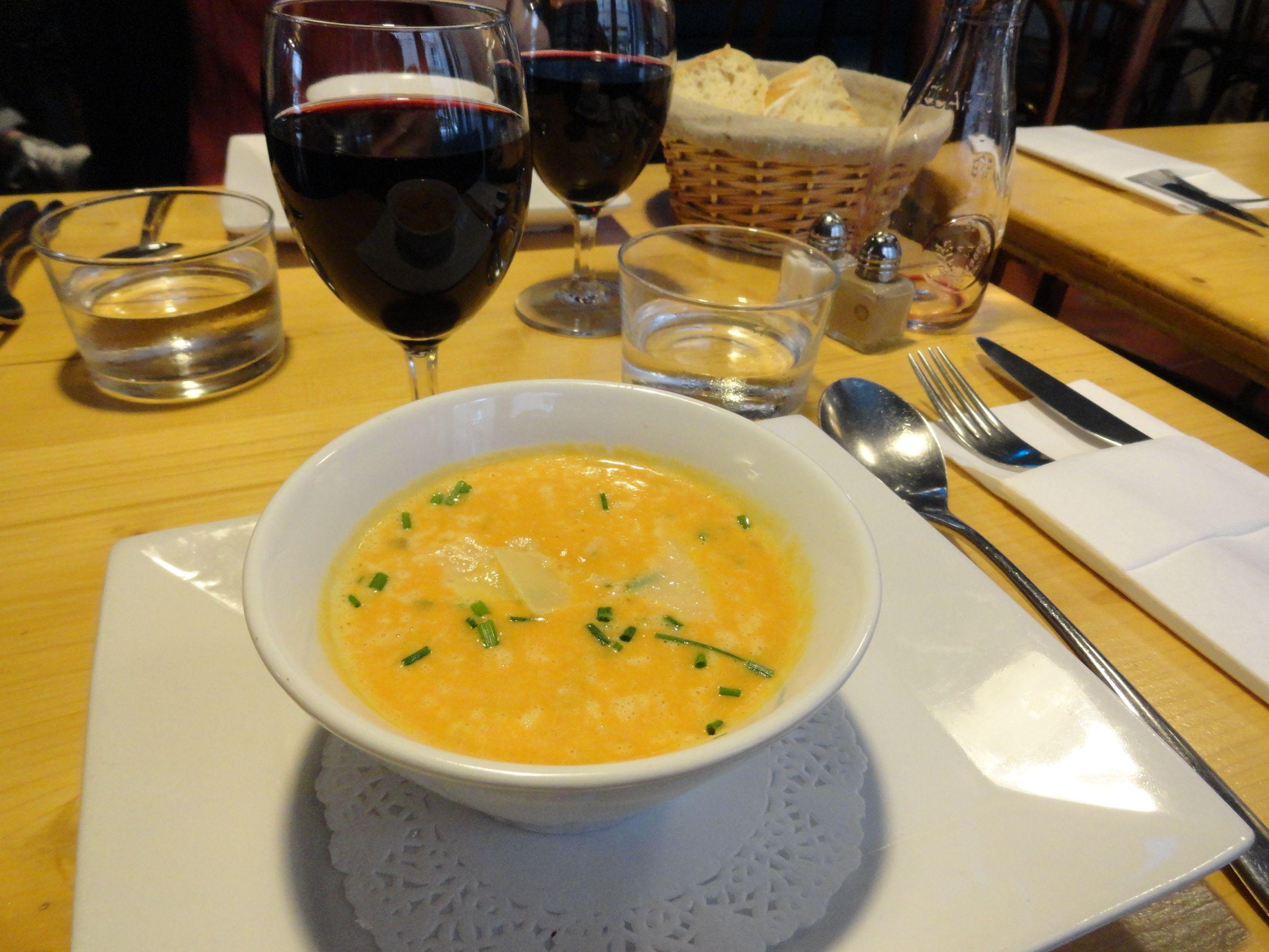 Pumpkin soup at Mère et Filles.