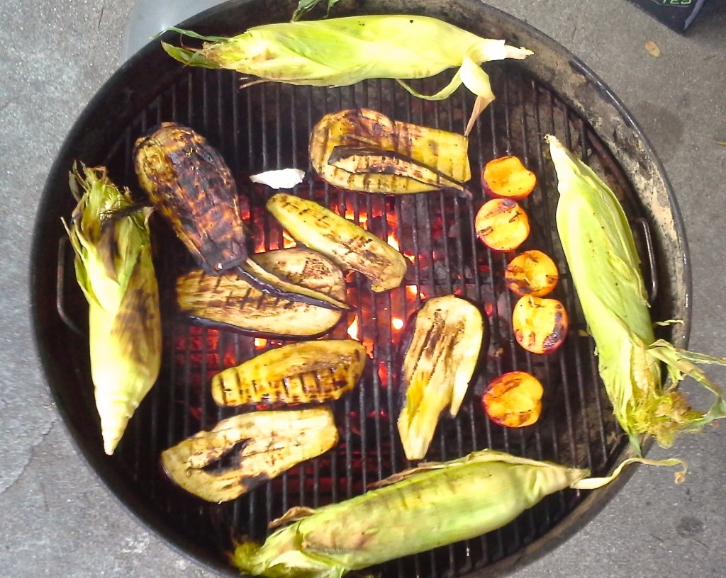 Grillin' it up! With a tester piece of queso blanco amidst the veggies.