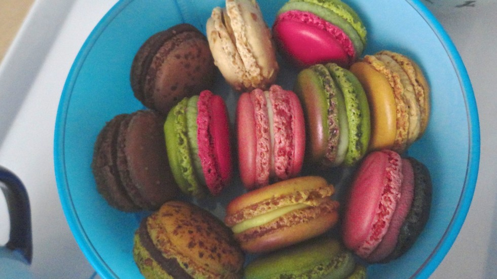 A box of perfect Pierre Hermé macarons.