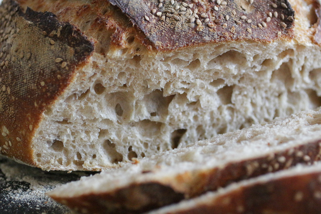 The crumb of M. Cheesemonger's bread. Mmm. I can smell it through the screen.