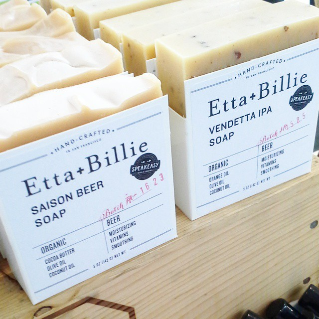 For those who love #beer so much, they want to lather up with it. Beer-infused soaps! I met Alana of @ettaandbillie at #remake2014 #britandco #sf! They smell so good! #handmade