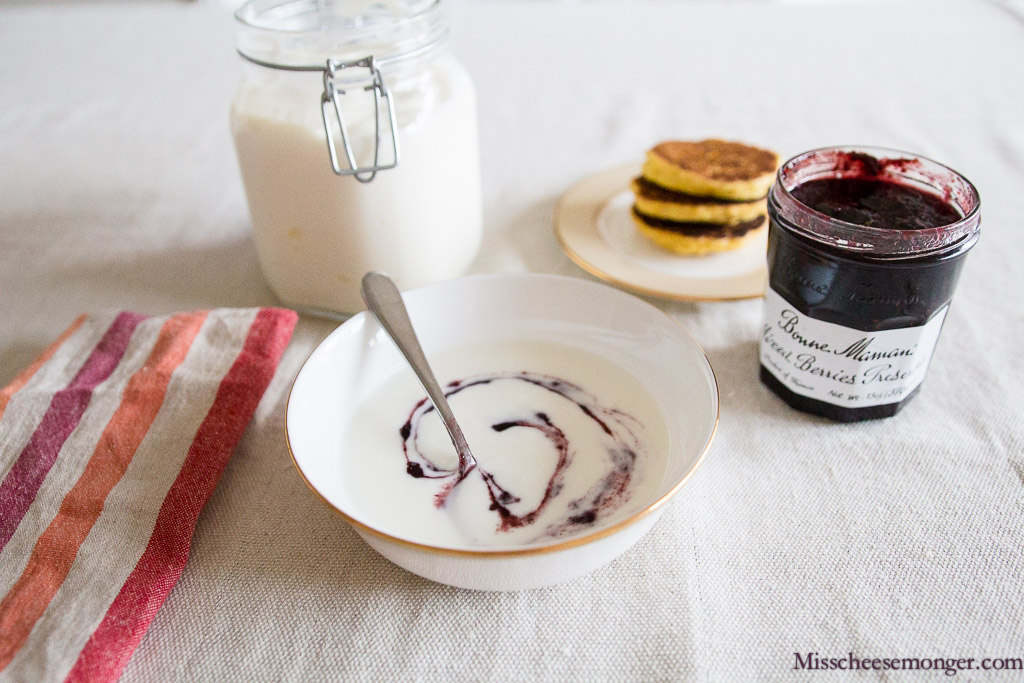 Breakfast: Homemade Yogurt, Bonne Maman Mixed Berries Preserves, Homemade Johnnycakes. Yum!