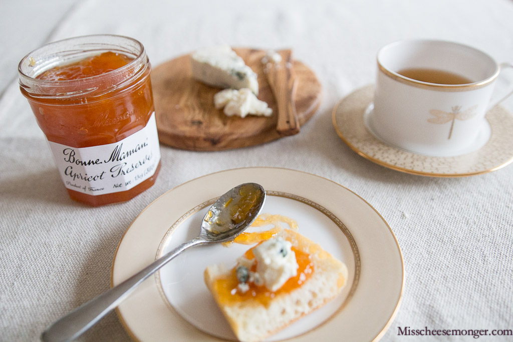 Afternoon Tea & Cheese Plate For One: Point Reyes Blue & Bonne Maman's Apricot Preserves.