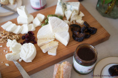 An All-California Cheese & Fig Platter With Laura Chenel, Marin French, Nicasio Valley Cheese Co., Point Reyes Farmstead Cheese Co., Orchard Choice Mission Figs.