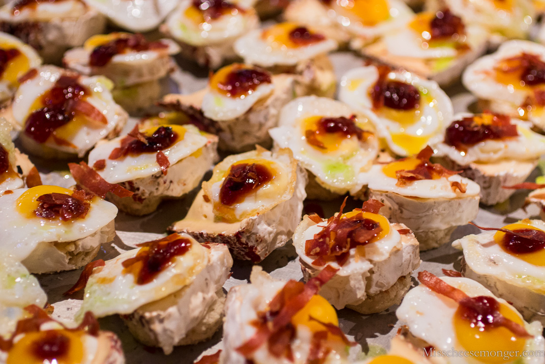 Eric Miller from Mission Cheese: Cowgirl Creamery Devil's Gulch, crispy prosciutto, quail egg, spicy tomato jam.