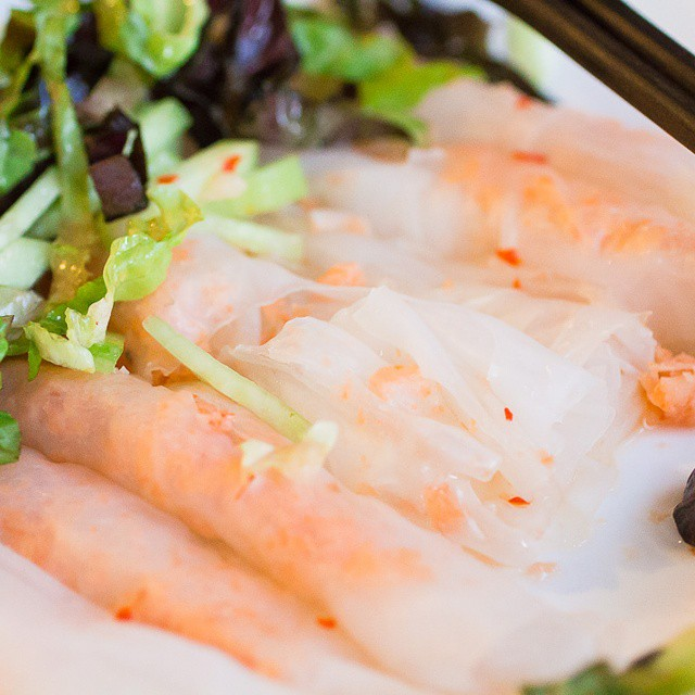 #tasteslikehome! I love all the #vietnamese #food my grandma and mom are feeding me. This is #banhuottomchay, minced shrimp wrapped in thin, wide sheets of rice noodle. I love it with cucumber and salad with lots of #nuocmam #fishsauce. #cheesemongersdayoff #socal #foodphotography #foodpics #gourmand #gourmet #misscheesemonger #foodporn