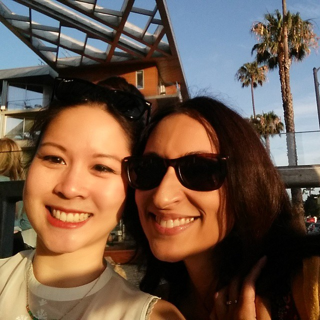 Yes, I'll take a #selfie with you, @zehrafazal! A #latergram from our dinner together in #santamonica. I guess we were both looking at someone else's camera. And then we sang