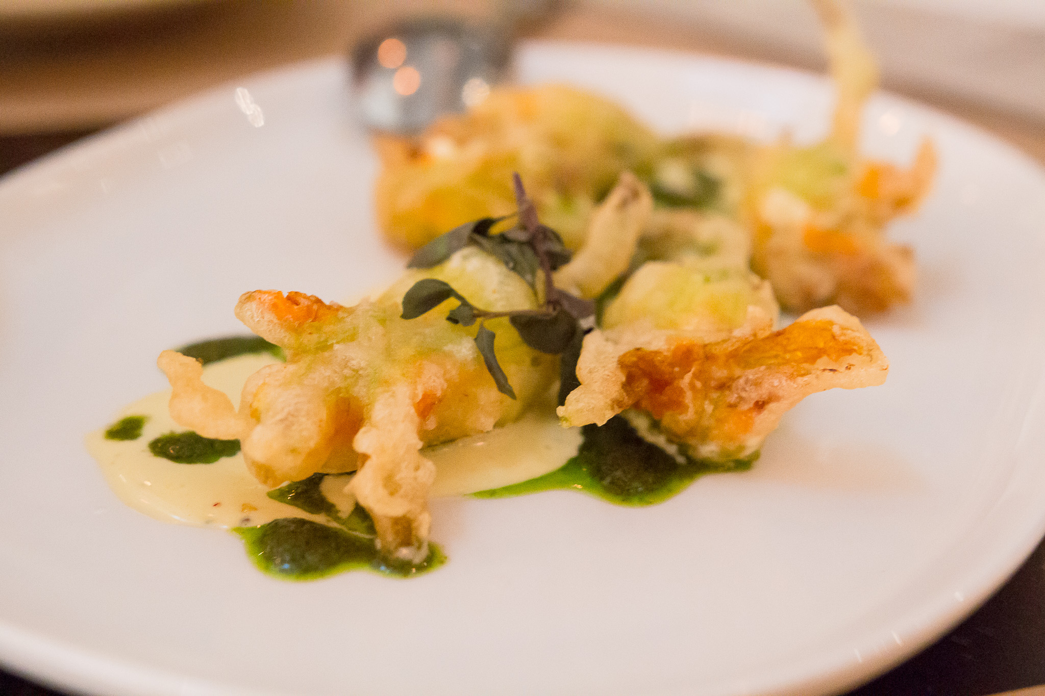 Stuffed squash blossoms at Cucina Enoteca.