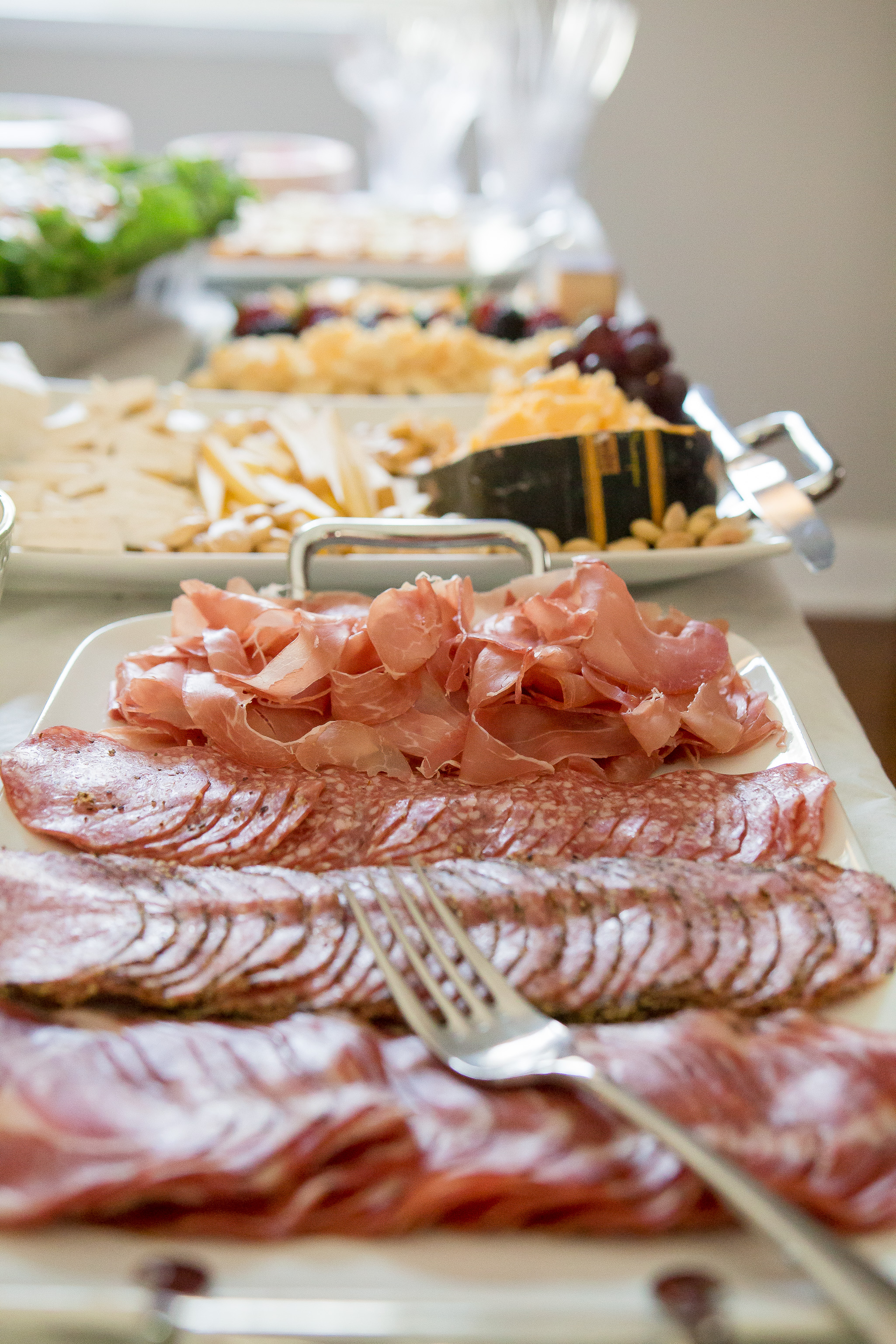 Other foods that go well with cheese, like charcuterie, disappear quickly!