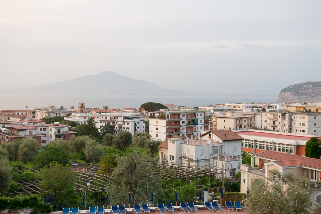 Our hotel room view. Mt. Vesuvius, the Bay of Naples, and Sorento.