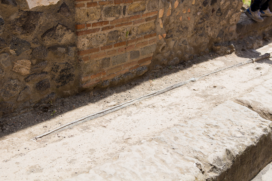Lead pipes, for plumbing, in Pompeii, Italy.