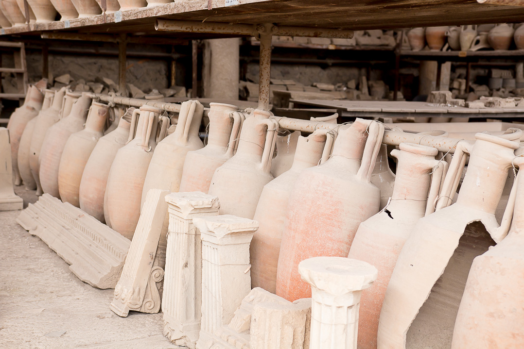 Some of the amphoras recovered from the ruins.
