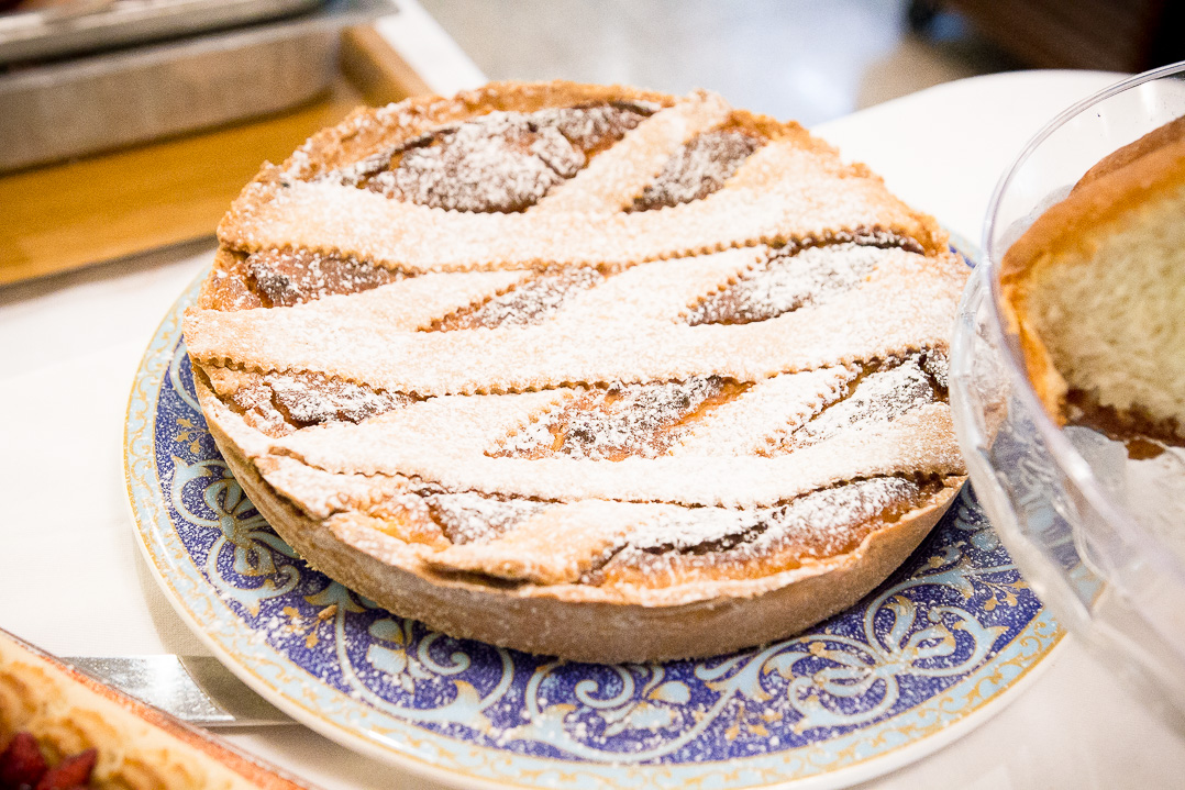 A pastiera napoletana, a traditional Easter dessert with eggs, wheat, ricotta.