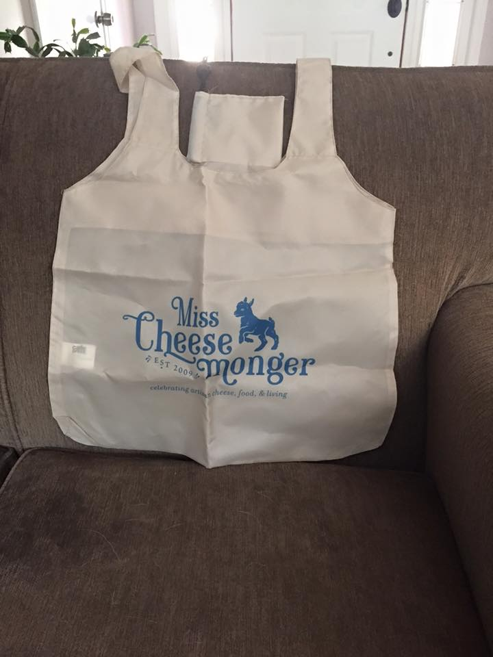Reusable shopping bag from Miss Cheesemonger's online shop.  www.cafepress.com/misscheesemonger