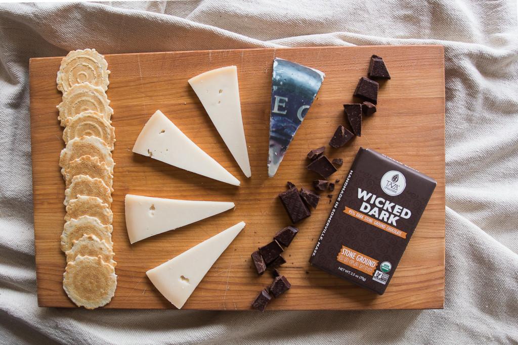 Cypress Grove Midnight Moon, Taza Chocolate Wicked Dark Bar, 34 Degrees Crisps. Miss Cheesemonger.com.