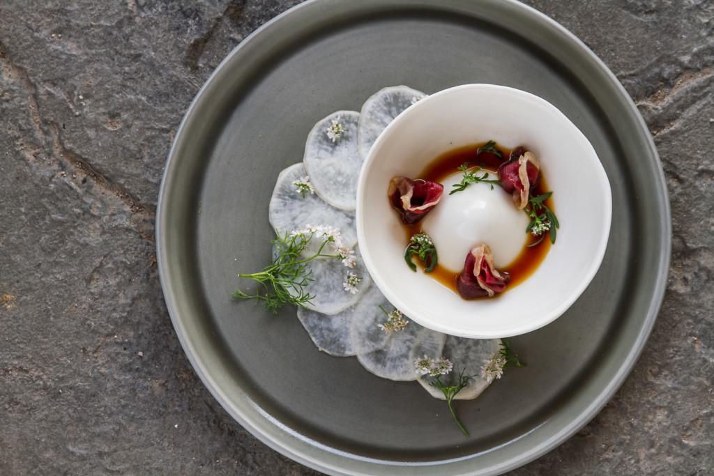 Felt + Fat Tableware. Dish by Chef Jamie Simpson.