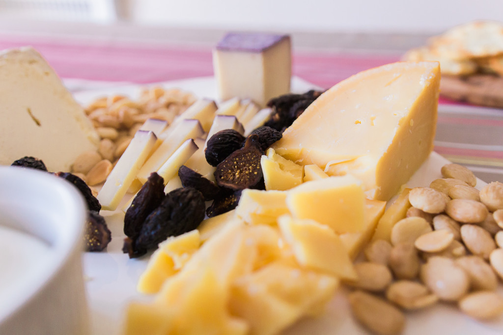 Marcona almonds and dried mission figs, my favorite cheese board accompaniments! An all Trader Joe's cheese plate on Misscheesemonger.com.