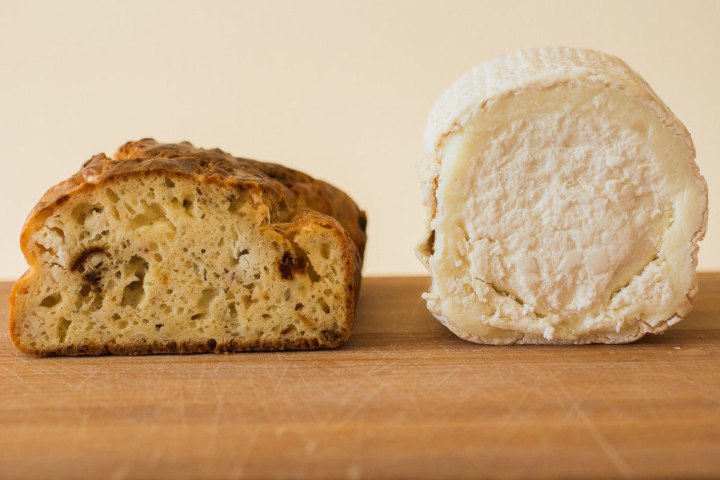 Goat Cheeses of France, Culture Magazine, and Miss Cheesemonger bring you French goat cheeses! A recipe for savory cake with chèvre + marinated sun dried tomatoes and pear + dried fruit compote. Misscheesemonger.com.