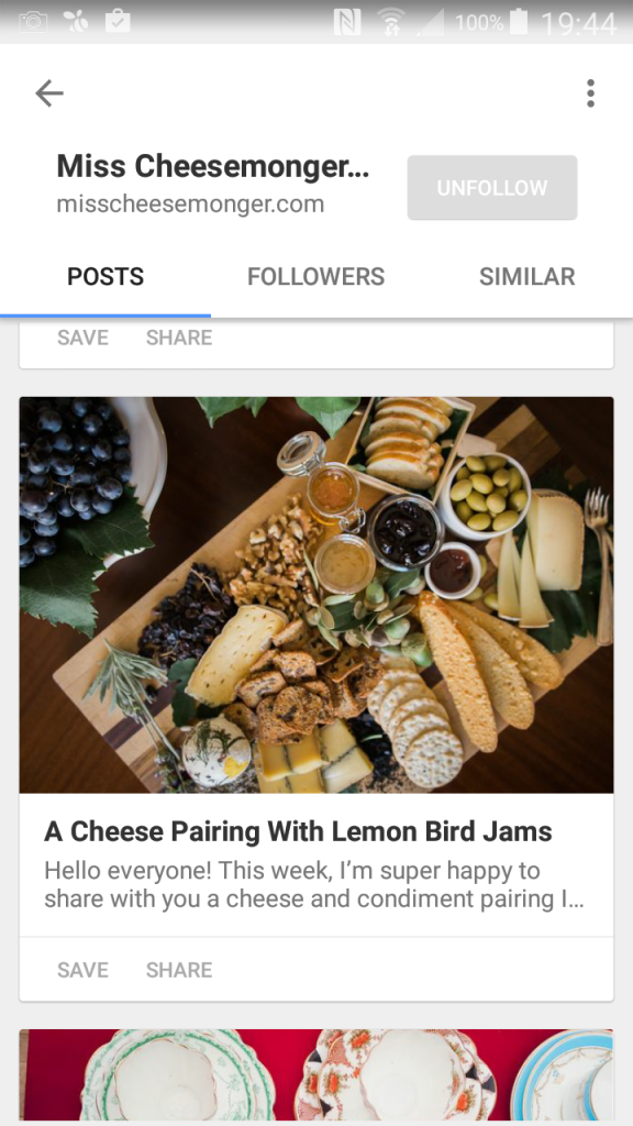 Screenshot of Miss Cheesemonger on Bloglovin'!