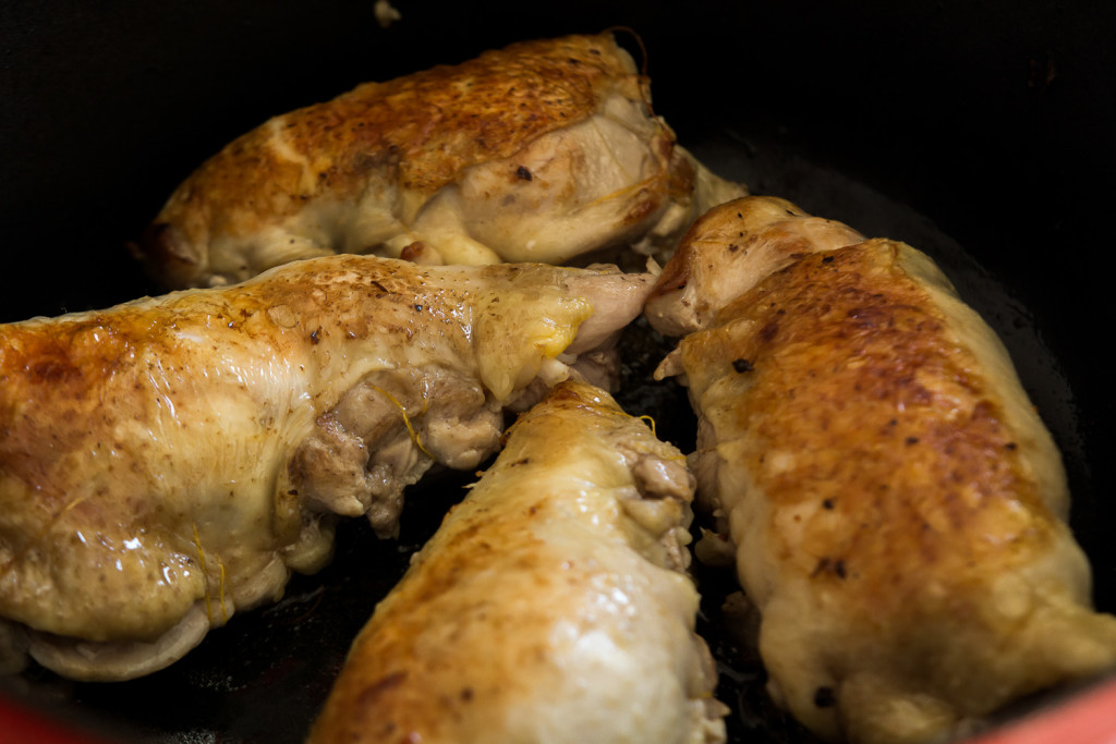 Chicken legs stuffed with blue cheese and walnuts. From Joanne Weir's Kitchen Gypsy. Recipe on misscheesemonger.com.