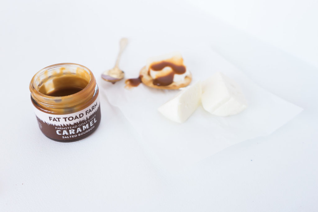 A cheese and caramel pairing with Fat Toad Farm + a sweepstakes! By Vero Kherian for misscheesemonger.com.