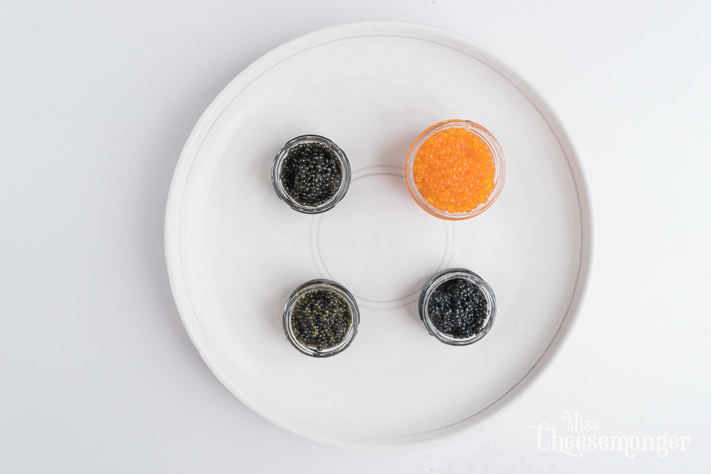 Tsar Nicoulai caviar and cheese tasting. Plate by Shiho Taka Ceramics. By Vero Kherian on misscheesemonger.com.