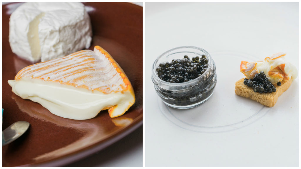 Brebirousse d'Argental and the Reserve caviar. Delicate flavors and textures abound! Tsar Nicoulai caviar and cheese tasting. Dishware by Shiho Taka Ceramic. By Vero Kherian on misscheesemonger.com.