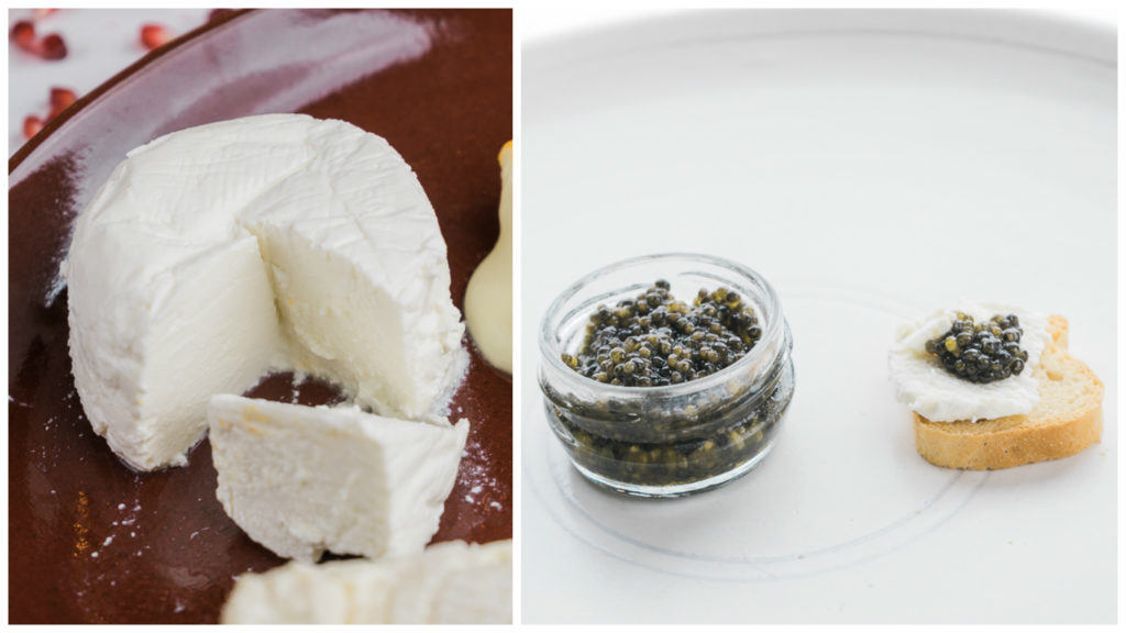 Nicasio Valley Foggy Bottom + Tsar Nicoulai Clasico caviar. Now, it's a party. Tsar Nicoulai caviar and cheese tasting. Dishware by Shiho Taka Ceramic. By Vero Kherian on misscheesemonger.com.