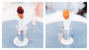 Vegetable cornet (L) with beets. Chef's tasting menu option (R) with salmon.