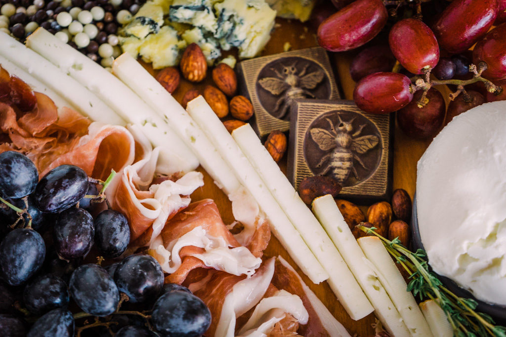 An American Cheese Board for American Cheese Month. By Vero Kherian for misscheesemonger.com.