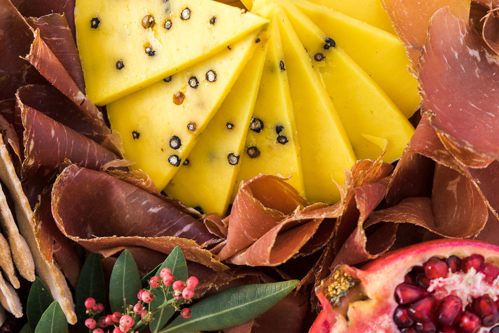 Punchy flavors, punchy colors--Pecorino allo Zafferano e Pepe will make its mark on you and your guests for holidays to come. An unforgettable holiday cheese board with Cheese Plus. By Vero Kherian for misscheesemonger.com.